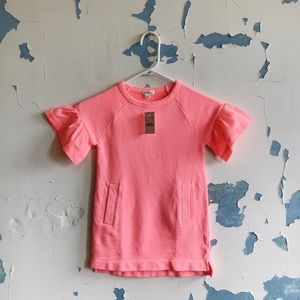 CrewCuts Pink Sweatshirt Flutter Sleeve Dress